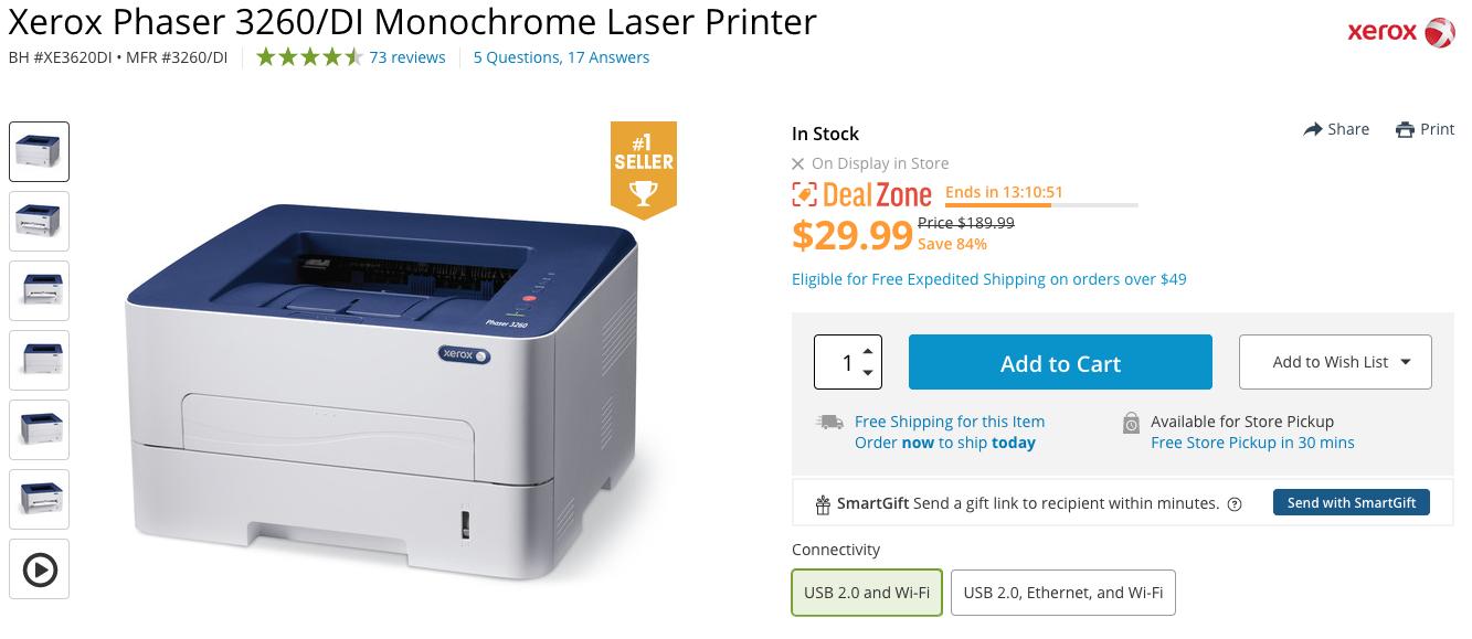 Xerox Phaser 3260/DI Monochrome Laser Printer Only $29 99